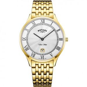 Rotary Men's Ultra Slim Sapphire Silver Dial Gold Bracelet Watch GB08303/01