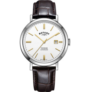 Rotary Men's Windsor Automatic Sapphire White Dial Brown Leather Strap Watch GS05315/02