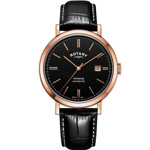 Rotary Men's Windsor Automatic Sapphire Black Dial Leather Strap Watch GS05319/04