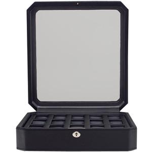Wolf Windsor Black Wrist Watch Storage Box For 15 Watches 4585029
