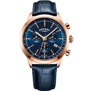 Rotary Men's Cambridge Chronograph Sapphire Rose Gold Plated Leather Strap Watch GS05257/05