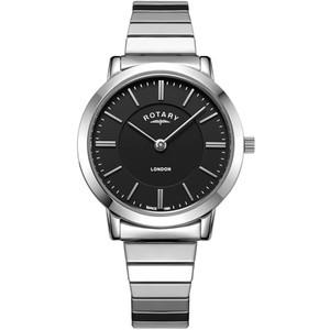 Rotary Ladies London Black Gloss Dial Expansion Bracelet Watch LB00765/04