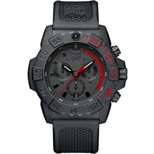 Luminox Men's Navy Seal Chronograph 3580 Series Carbon Case Black Rubber Strap Watch XS.3581.EY