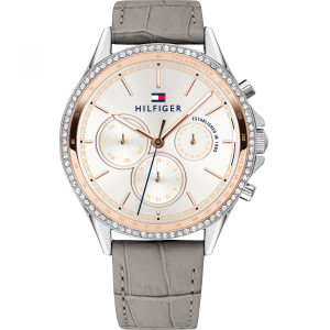 Tommy Hilfiger Ladies Ari Chronograph Crystals Grey Leather Strap Watch 1781980