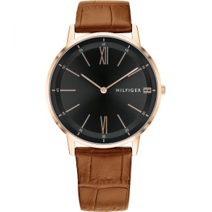 Tommy Hilfiger Men's Cooper Rose Gold Plated Brown Leather Strap Watch 1791516