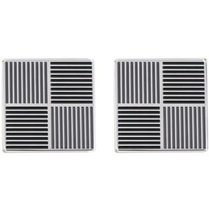 Tommy Hilfiger Men's Fine Core Silver Stainless-Steel Striped Patterned Cufflinks 2790019