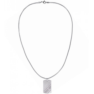 Tommy Hilfiger Men's Casual Core Silver Dog Tag Necklace 2790017