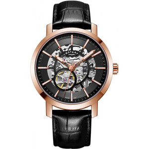 Rotary Men's Greenwich G2 Sapphire Automatic Rose Gold Plated Black Leather Strap Watch GS05354/04