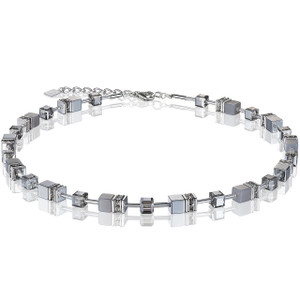 Coeur De Lion Ladies GeoCube Swarovski Crystals Agate/Haematite Light Grey Necklace 4017-10-1220