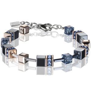 Coeur De Lion Ladies GeoCube Swarovski Crystals Haematite Blue Bracelet 4015-30-0735