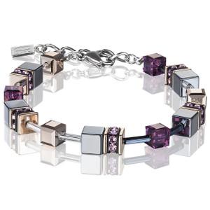 Coeur De Lion Ladies GeoCube Swarovski Crystals Amethyst Bracelet 4015-30-0824