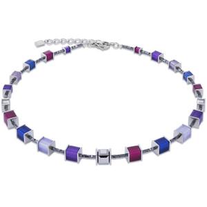Coeur De Lion Ladies GeoCube Swarovski Crystals Purple Blue Necklace 4945-10-0807