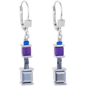 Coeur De Lion Ladies GeoCube Swarovski Crystals Purple Blue Earrings 4945-20-0807