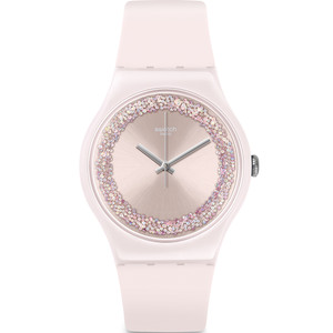 Swatch New Gent Pinksparkles Pink Silicone Strap Watch SUOP110