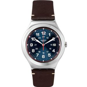 Swatch Irony Big Classic Happy Joe Flash Brown Leather Strap Watch YWS440