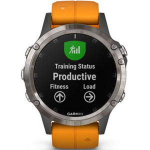 Garmin Fenix 5 Plus Sapphire Titanium Orange GPS Multi-Sport-Sensor HR Music Smartwatch 010-01988-05