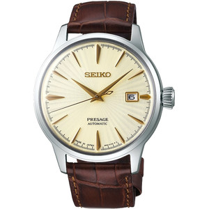 Seiko Presage Cocktail Time Date Brown Strap Automatic Watch SRPC99J1