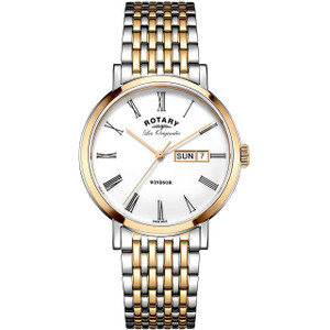 Rotary Swiss Made Windsor Men's PVD Rose Gold Plated Bracelet Watch GB90155/01