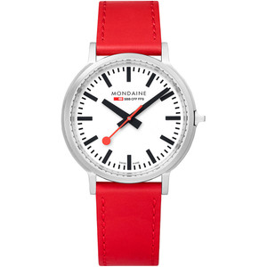 Mondaine Stop-2-Go BackLight Sapphire Red Leather Strap Watch MST.4101B.LC