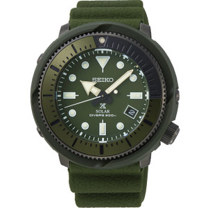 Seiko Prospex Street Series Solar Powered Silicone Strap Olive Diver's Watch SNE535P1