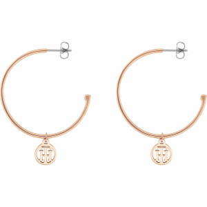Tommy Hilfiger Ladies Casual Core Rose Gold Plated Hoop Earrings 2780024