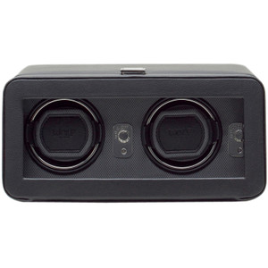 Wolf Windsor Black Double Watch Winder With Glass Cover 4526029
