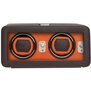 Wolf Windsor Brown Orange Double Watch Winder With Glass Cover 452606