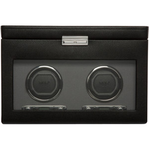 Wolf Viceroy Black Double Watch Winder With 3 Piece Storage 456202