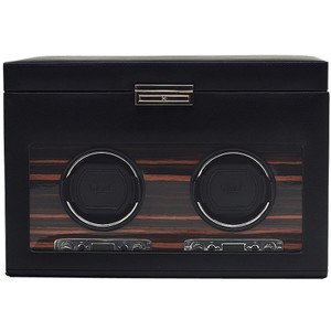 Wolf Roadster Black Double Watch Winder With 3 Piece Storage 457256