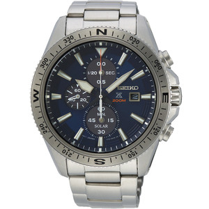 Seiko Men's Prospex Land Solar Chronograph Blue Dial Silver Bracelet Watch SSC703P1