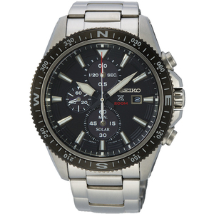 Seiko Men's Prospex Land Solar Chronograph Black Dial Silver Bracelet Watch SSC705P1