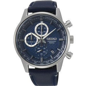 Seiko Men's Tachymeter Chronograph Navy Blue Dial Blue Leather Strap Watch SSB333P1