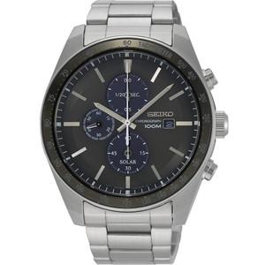 Seiko Men's Tachymeter Chronograph Solar Grey Dial Silver Bracelet Watch SSC715P1