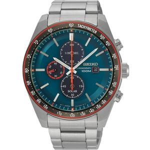 Seiko Men's Tachymeter Chronograph Solar Blue Dial Silver Bracelet Watch SSC717P1