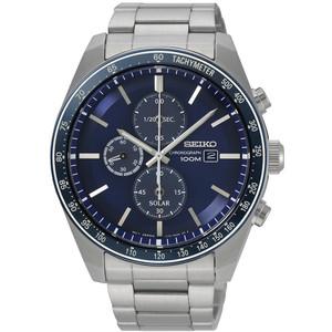 Seiko Men's Tachymeter Chronograph Solar Blue Dial Silver Bracelet Watch SSC719P1