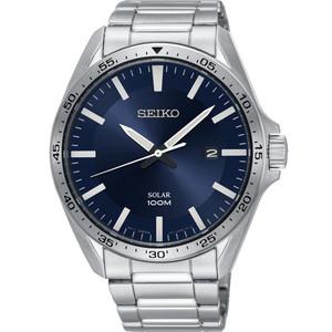 Seiko Men's Solar Dark Blue Dial Silver Bracelet Watch SNE483P1