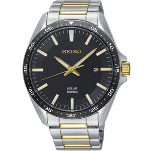 Seiko Men's Solar Black Dial Two-Tone Bracelet Watch SNE485P1
