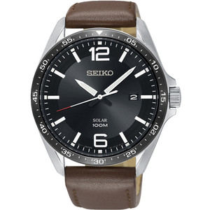 Seiko Men's Solar Black Dial Brown Leather Strap Watch SNE487P1