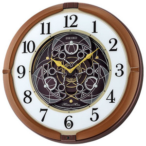 Seiko Metallic Brown Melody In Motion Musical Wall Clock QXM380B