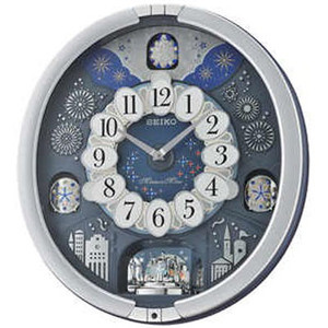 Seiko Silver Melody In Motion Westminster Chime Swarovski Crystals Musical Wall Clock QXM379S