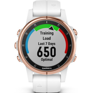 Garmin Fenix 5S Plus Sapphire GPS Multi-Sport Multi-Sensor HR Music Rose Gold Tone With White Strap 42mm Smartwatch 010-01987-07