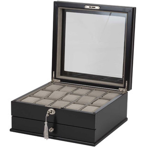 Mele & Co Arthur Black Wooden Watch Box With Drawer Fits 15 Watches 469