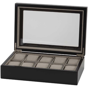 Mele & Co Nathan Glass Top Black Wooden Watch Box Fits 10 Watches 468