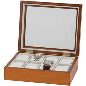 Mele & Co Owen Glass Top Oak Finish Wooden Watch Box Fits 8 Watches 463