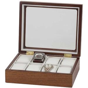 Mele & Co Logan Glass Top Beech Wooden Watch Box Fits 8 Watches 465