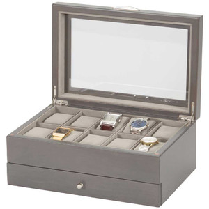 Mele & Co Matthew Glass Top Grey Wooden Watch Box With Drawer Fits 10 Watches 461