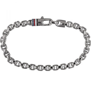 Tommy Hilfiger Men's Gun Metal Ion Plated Box Chain Bracelet 2790031