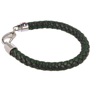Tommy Hilfiger Men's Green And Blue Woven Leather Bracelet 2790045