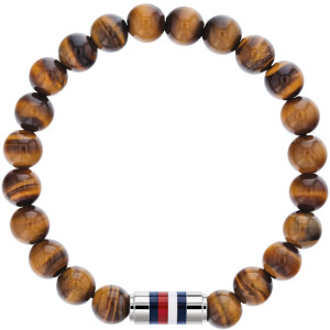 Tommy Hilfiger Men's Casual Core Brown Tiger Eye Beaded Bracelet 2790067