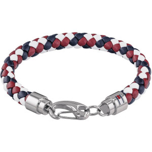 Tommy Hilfiger Men's Casual Core Blue, Red And White Woven Leather Bracelet 2790046